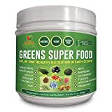 organic all day energy greens - Activa Naturals Greens Superfood Powder Supplement with Organic Leafy Raw Green Veggies & Energy Super Fruits, Vegan Wheatgrass, Natural Spirulina, Alkalizing Whole Foods, Vital Enzymes and Probiotics