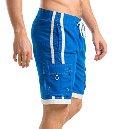 Ocean Pearl Mens Striped Bathing Suit Swim Trunks Blue M