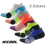 Athletic Ankle Socks Nicool Quarter All-season Performance Compression Socks of Men,Gray Pink,1 Pair