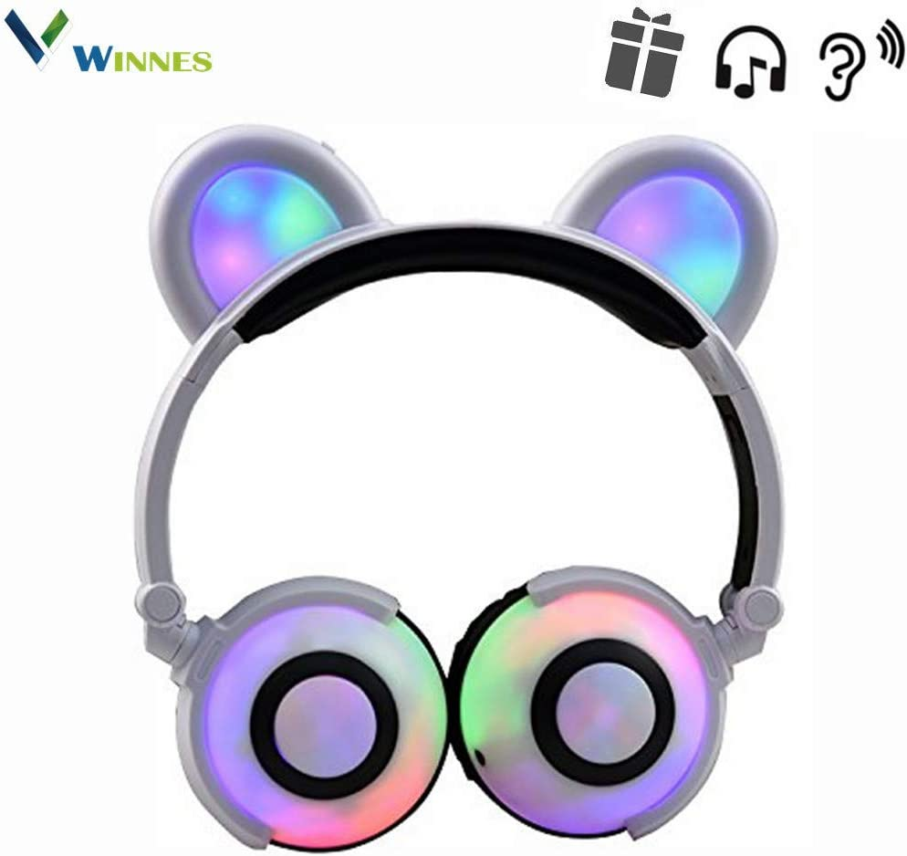 Cat Ear Bluetooth Headphones,Winnes Bear Ear Couple Headset DJ Style Foldable Gaming Earphone with LED Flash Light for Mobile Phone Tablet Compatible Android and iOS,Perfect for Kids Girls(White)