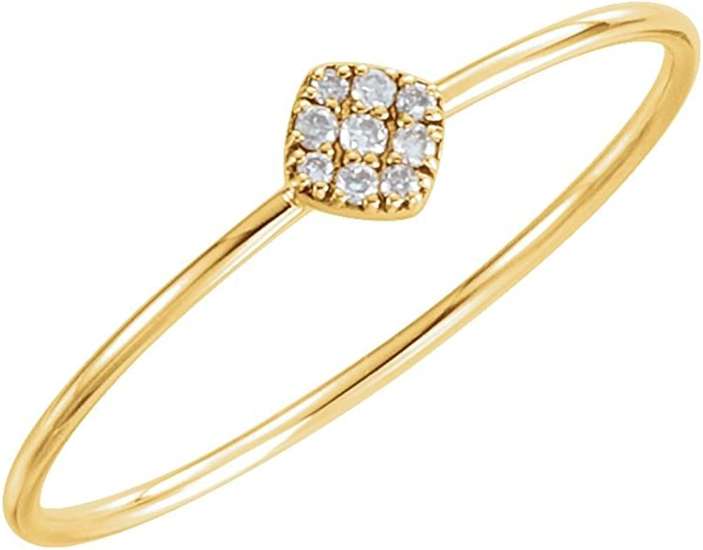 Jewels By Lux 14K Yellow Gold 1//8 CTW Diamond Petite Square Ring Size 7