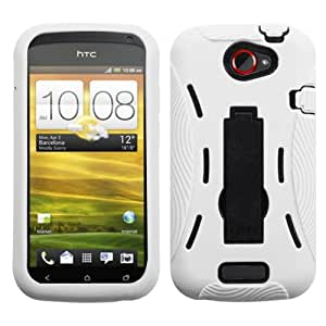 ASMYNA Black/White Symbiosis Stand Protector Cover for HTC One S