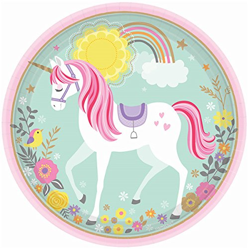 TwoTwelve Unicorn Party Supplies, Birthday, Magical Design, 16 Guests, Includes Dinner Plates, Dessert Plates Napkins