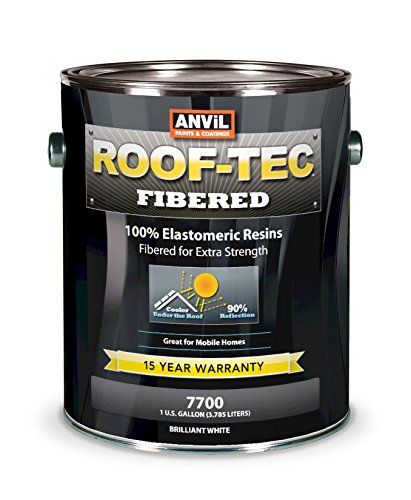 (Anvil ROOF-TEC 7700 Fibered Elastomeric Roof Coating, Protective Acrylic Roof Sealant for Mobile Homes and RV, Energy Saving Solar Reflective White 1 Gallon (Pack of)