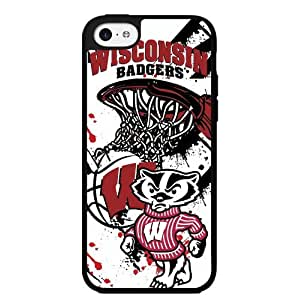University of Wisconsin Badgers Red, Black, and White College Basketball Sports Hard Snap on Phone Case (iPhone 5c)