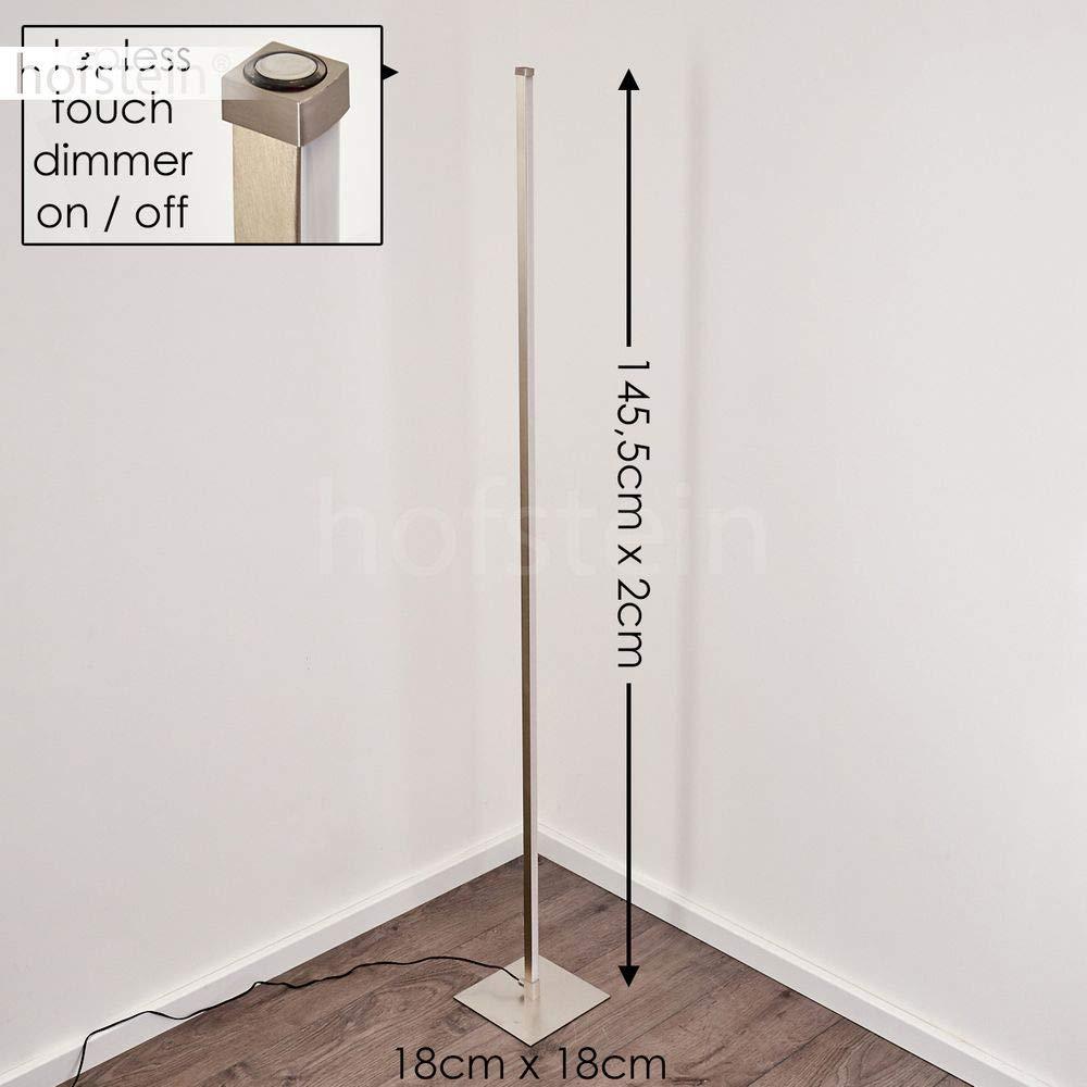 Lampada da terra LED Soyo retta in metallo di colore nichel opaco 1300 Lumen Piantana con interruttore touchdimmer per regolare lintensit/à di luce calda 3000 Kelvin
