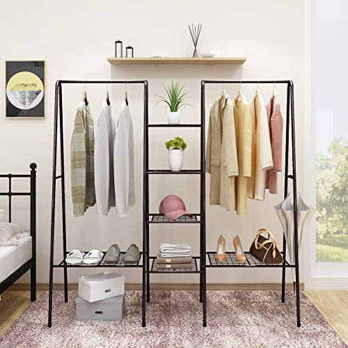 Metal Clothes Rack Heavy Duty Indoor Bedroom Clothing Hanger with Top Rod and Lower Storage Shelf Clothes Rack Shelves Brown