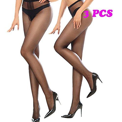 Silk Crotchless Pantyhose for Women Black Sheer Nylons Sexy High Waist Suntan