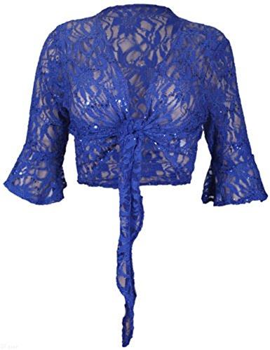 Fashion 4Less Coprispalle da donna lustrini pizzo motivo floreale nodo bolero top taglie forti 44