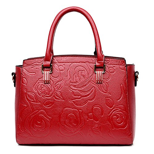 Crossbody Moda Rose Winered Bolso Relieve Bandolera Bolso Mujer En qC7OHwE