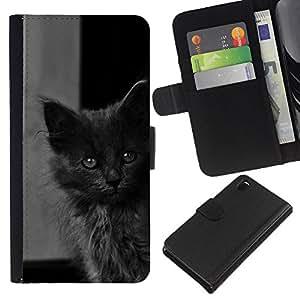 All Phone Most Case / Oferta Especial Cáscara Funda de cuero Monedero Cubierta de proteccion Caso / Wallet Case for Sony Xperia Z3 D6603 // Cute Baby Kitten Grey Cat Furry Beast