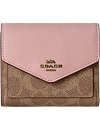 Womens Small Wallet in Color Block Coated Canvas Signature