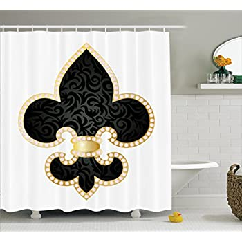 Amazon.com: Fleur De Lis Decor Shower Curtain Set By Ambesonne ...