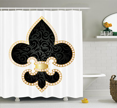 Fleur De Lis Decorations (Fleur De Lis Decor Shower Curtain Set by Ambesonne, Royal Legend Lily Throne of France Empire Family Insignia of Knights Image, Bathroom Accessories, 75 Inches Long, Black Gold White)