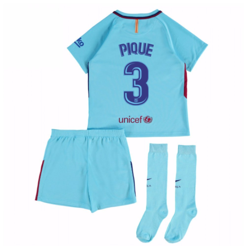 2017-2018 Barcelona Away Mini Kit (Pique 3) B077PKC6RZBlue MB 5-6yrs (110-116cm)