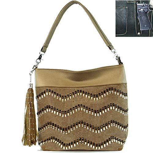 (Concealed Carrry Rhinestone Studded Blingbling Hobo Bag (gold))