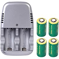 IORMAN 4-Pack 3v 800mAh CR2 Rechargeable Lithium Battery with Battery Charger Adapter