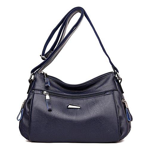 Bags Women Sac Deep Shoulder Woman Bags New Designer Pu Leather Purses Burgundy Lady Shoulder Handbag Vintage Famous Soft Blue Bags Meaeo Ladies 8UYRnBn