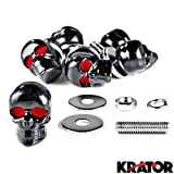 Krator® Motorcycle 6 x Skull Black Bolts - Custom Black Motorcycle Bolts used for License Plate bolts, Windshield bolts and any 6mm thread, fits HONDA YAMAHA KAWASAKI SUZUKI HARLEY CRUISERS MOTORCYCLE