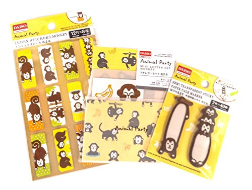 Animal Party Monkey Collection 3 Set(Index Stickers/Mini Letter Paper and Mini Envelopes/Transparent Paper Sticky Note