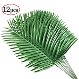12pcs Artificial Palm Plants Leaves Imitation Leaf Artificial Plants Green Greenery Plants Faux Fake Tropical large Palm Tree Leaves for Home Kitchen Party Flowers Arrangement Wedding Decorations