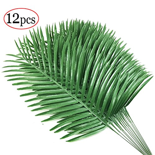 12pcs Artificial Palm Plants Leaves Imitation Leaf Artificial Plants Green Greenery Plants Faux Fake Tropical large Palm Tree Leaves for Home Kitchen Party Flowers Arrangement Wedding - Green Plant Leaves