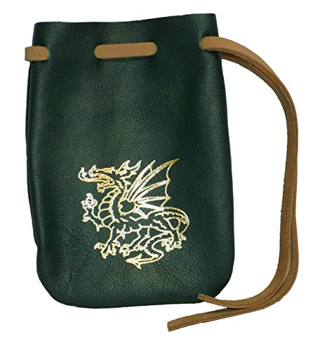 Dragon Imprint Medium Leather Drawstring Pouch (Green Gold Dragon) (Leather Green Dragon)