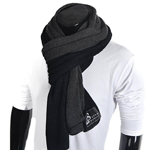 Mens Thick Knitted Plaid Long Winter Scarf Shawl E5031 (E5002-Black/Grey) -