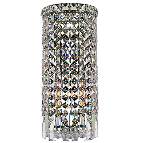 Bellacor Crystal Sconce (Worldwide Lighting W23611C8 Cascade 2 Light Rounded Crystal Wall Sconce, Chrome Finish and Clear Crystal, ADA Compliant, 8