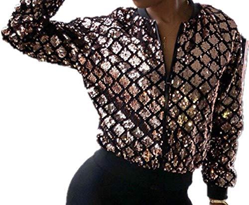 Speedle Women Party Clubwear Zip up Sequin Plaid Jacket Baseball Bomber Jacket Gold 2 L