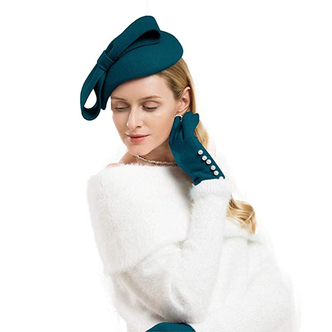 acb9220e296 1950s Women s Hat Styles   History FADVES Wool Felt Fascinator Winter Women  Pillbox Hat Bowknot Kentucky
