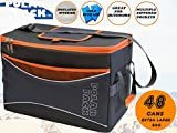 POLAR PACK Extra Large 48 Can Collapsible Cooler Bag Soft Portable Insulated Picnic Bag Outdoor Indoor Travel Lunch Bag for Camping Hiking Events School Travel Concerts & Sports (BLACK/CHAR/ORANGE) For Sale