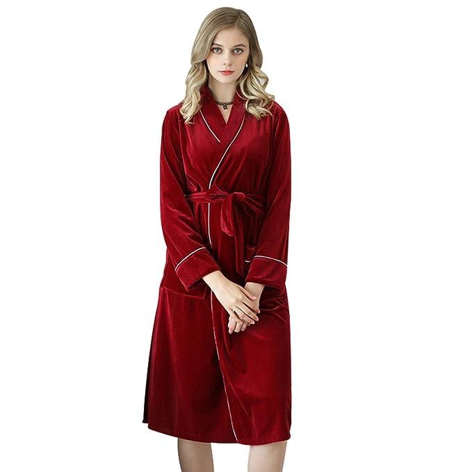YiLianDa Pijamas para Mujer Larga Albonoz Batas Mujer de Aspecto Brillante Rojo XL