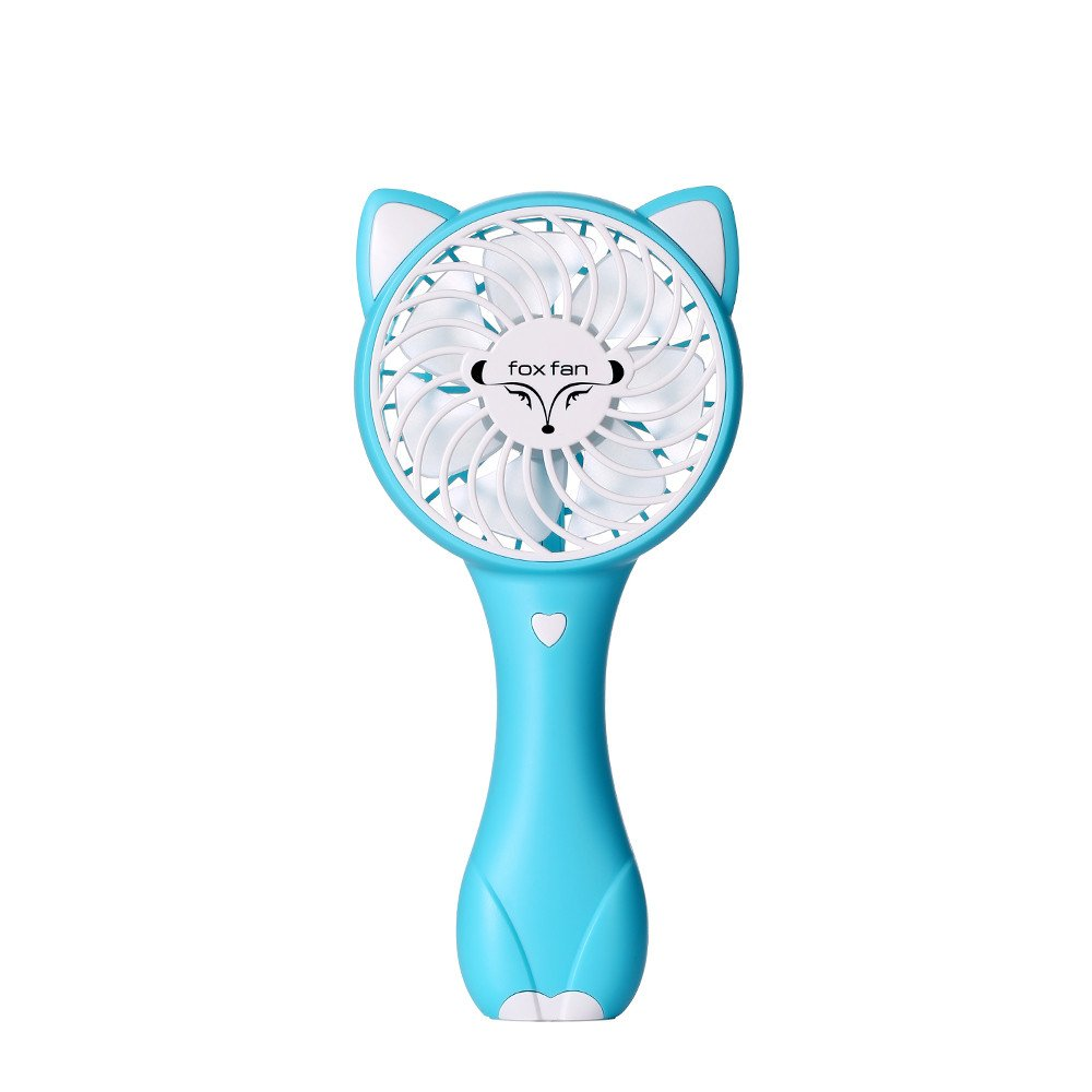 Hunpta@ Mini Fan, USB Mini Desktop Creative Handheld Portable Fox Fan (Sky Blue)