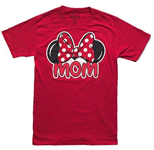 [Disney Women's Minnie Mouse Mom Fan T Shirt (Medium (8-10), Red)] (Family Disney Shirts)