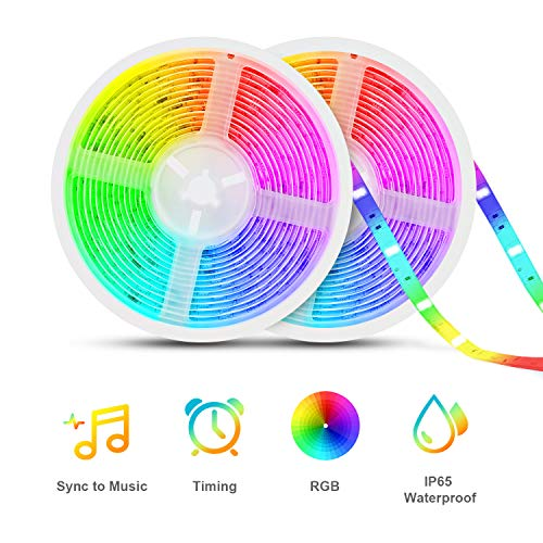 Led Strip Lights Sync to Music, Tasmor 32.8ft 5050 RGB Light Color Changing with Music IP65 Waterproof LED Rope Light with Controller for Home, Room, Bar, Party (Strip Changing Led Color)