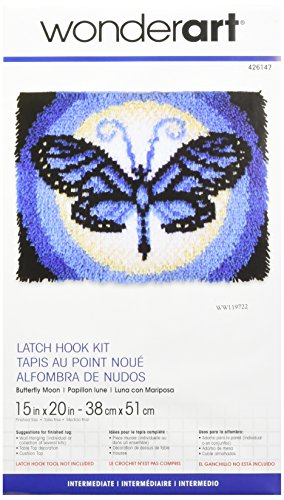 WonderArt Butterfly Moon Latch Hook Kit, 15
