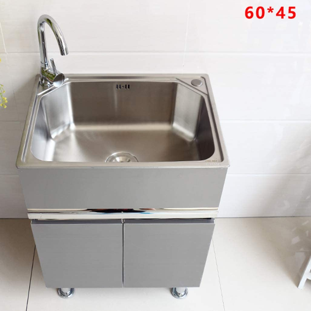 Lcf Stainless Steel Kitchen Sink Bathroom Vanity And Sink Combo Stand Cabinet With Drainboard Commercial Sink For Laundry Room Backyard Garages Amazon Co Uk Kitchen Home