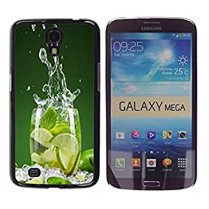 ROKK CASES / Samsung Galaxy Mega 6.3 I9200 SGH-i527 / LIME SPLASH / Delgado Negro Plástico caso cubierta Shell Armor Funda Case Cover