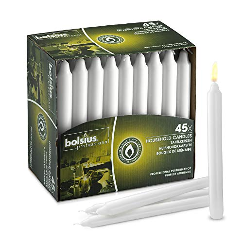 BOLSIUS Straight Unscented White Candles Pack of 45-7-inch Long Candles - 7 Hour Long Burning Candles - Perfect for Emergency Candles, Chime Candles, Table Candles for Wedding, Dinner, Christmas (Candles Uk Taper)