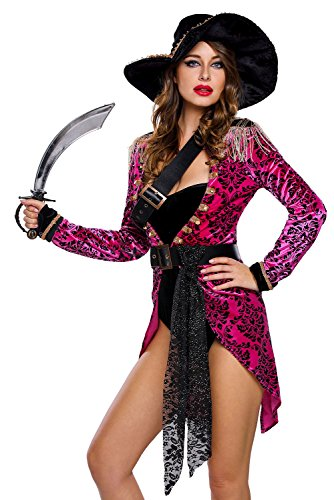 Seductive Pirate Captain Adult Costumes (Adam's Temptation Miss Captain Hot Sexy Dancewear Pirate Costume Set (Small))