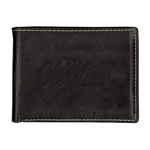 University of Mississippi Contrast Stitch Bifold Leather Wallet (Black)