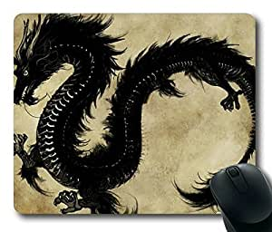 Chinese Black Dragon Personlized Masterpiece Limited Design Oblong Mouse Pad by Cases & Mousepads by Maris's Diary