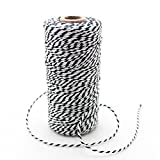 IPALMAY 100m Cotton Bakers Twine for Garden Twine or Gift Wrapping, Spool 3-Ply, Black and White