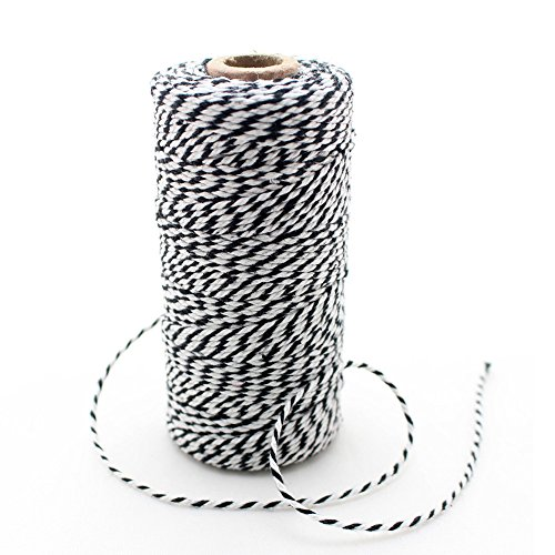IPALMAY 100m Cotton Bakers Twine for Garden Twine or Gift Wrapping, Spool 3-Ply, Black and White by Ipalmay