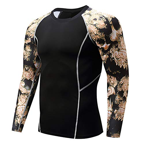 Men's Sports Compression Apparel Base Layers Workout Long Sleeve Shirt Skull Tattoo Running Motion Training Sport Fitness