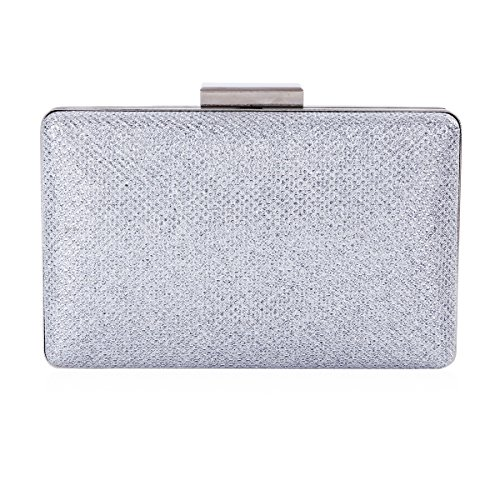 Damara Womens Sparkling Metal Lock Clutch Evening Bag,Silver