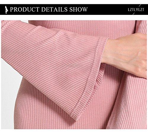 Femme Tricot Slim Dresse Nu Acvip Robe Mode Rose Moulante Dos Hx0BUddFqw