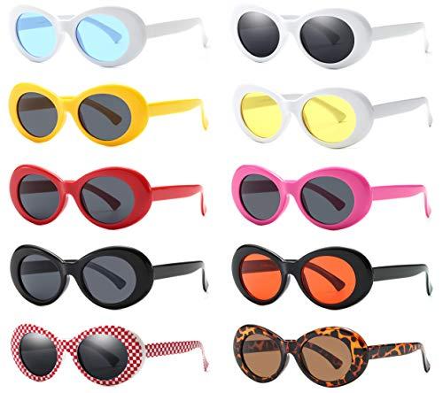 0de38ea487 Retro Oval Mod Thick Frame Clout Goggles Kurt Cobain Sunglasses ...
