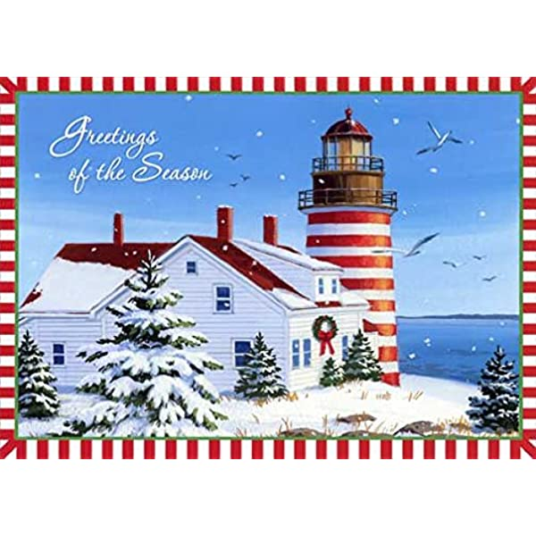 Amazon Com Lighthouse With Red And White Border Red Farm Studios Box Of 18 Nautical Christmas Cards Health Personal Care